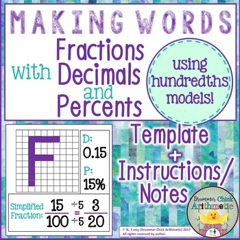 Word Activity - Fraction, Decimal, Percent Conversions with Hundredths Models