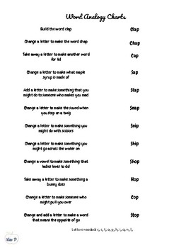 Word Analogy Chart - Short a, o, & i