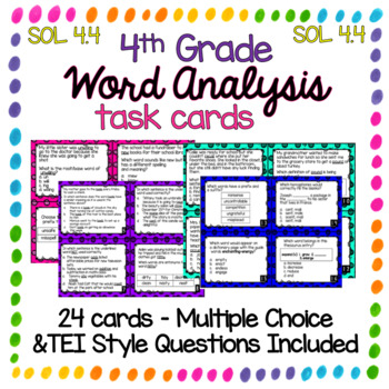 Word Analysis 4th Grade SOL 4.4 Task Cards