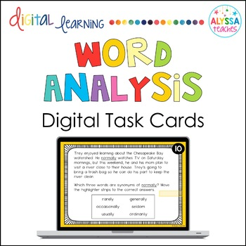 Word Analysis Digital Task Cards (SOL 4.4)