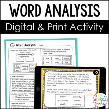 Word Analysis Digital Task Cards (SOL 4.4)