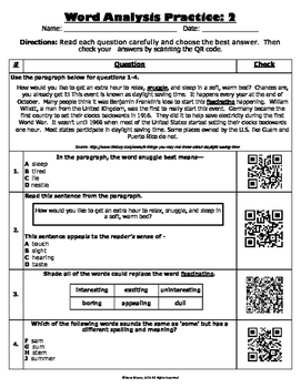 Word Analysis QR Code Practice Sheet 2 - SOL 4.4