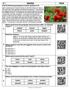 Word Analysis QR Code Practice Sheet 6 - SOL 4.4