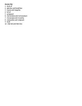 Affixes and Roots Quiz 2 - List 1 - Sort 2