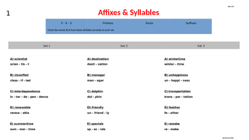 Word Analysis Strategies Using Affixes & Syllables