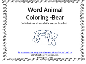 Word Animal - Bear