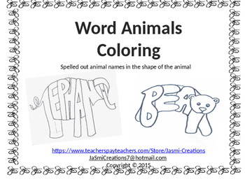 Word Animals - 8 animals