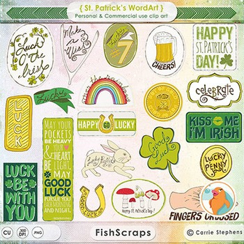 Word Art Title Clip Art - Irish Blessings, Good Luck Sayings - St Patrick's Day