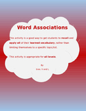 Word Associations (Vocabulary Activity)