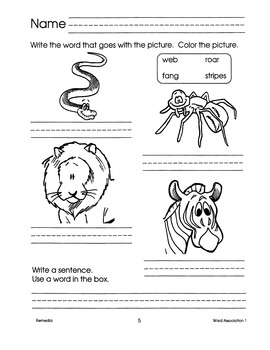 Word Associations: Read, Write, & Color 1