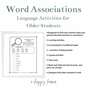 Word Associations Word Retrieval/Vocabulary Activity for Speech Therapy