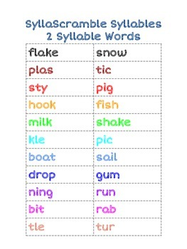 Word Attack Practice with Multisyllabic Words