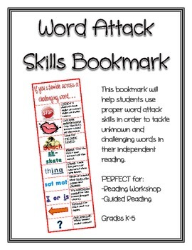 Word Attack Skills Bookmark by Fourth Grade Feats | Teachers Pay ...
