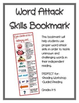 Word Attack Skills Bookmark