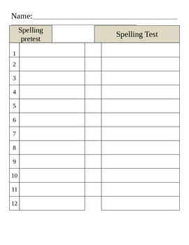 Word Automaticity & Spelling Pre- and Post-Test Templates