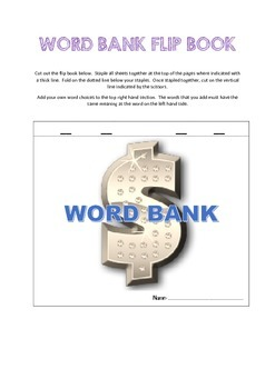 Word Bank Flip Book - Colored version