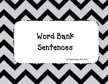 Word Bank Sentences - Writing and Daily 5