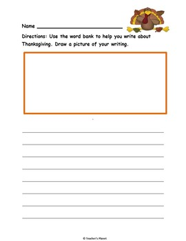 Word Bank Writing for Fall, Halloween and Thanksgiving