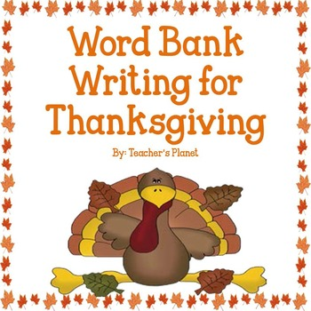FREE Word Bank Writing for Thanksgiving!