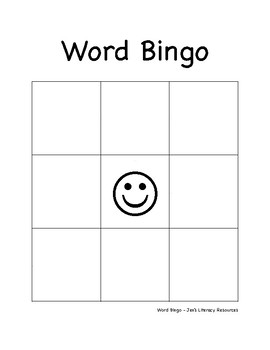 Word Bingo Template Primary By Jens Literacy Resources TpT - Bingo template word