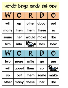 Word Bingo with Fry's List (four BINGO sets, seven cards for each set)