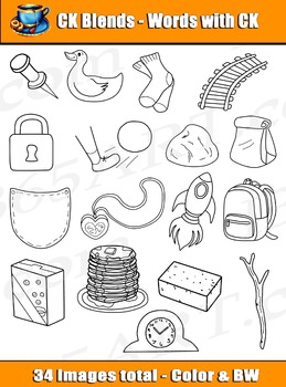 Word Blends: 36 CK Digraph Blends Clipart Graphics - Personal or Commercial-use