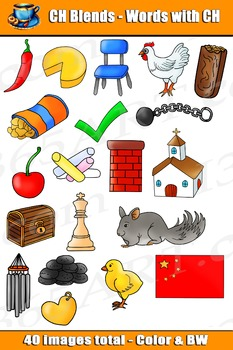 Word Blends: CH Digraph Blends Clipart - Personal or Commercial-use