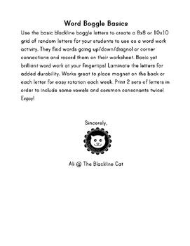 Word Boggle Basics 100% BLACKLINE word work