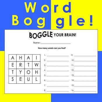 Word Boggle Sheets (36 Sheets)