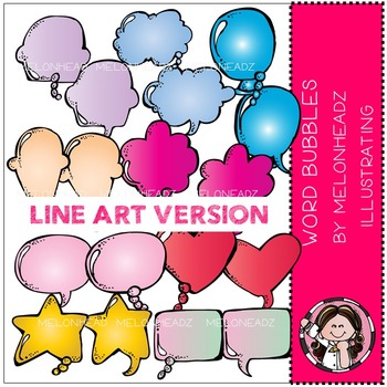 Word Bubbles by Melonheadz LINE ART