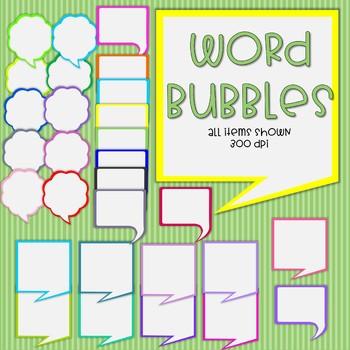 Word Bubbles - 3 designs - 30 total bubbles - 300 dpi