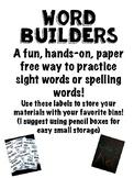 Word Builder Bin Labels