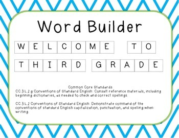 Word Builder - Welcome to ________ Grade!