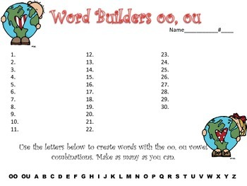 Word Builders OO & OU