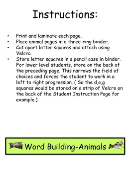 Word Building-Animals-Letter matching, two levels, literacy center!