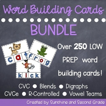 Word Building Card Bundle [CVC, Blends, Digraphs, and EVEN MORE!]