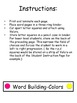 Word Building-Colors-letter matching, two levels of instru