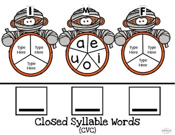 Word Building Halloween Spinner Activity