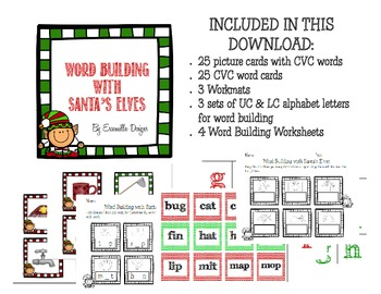 CVC Word Building Christmas Literacy Center