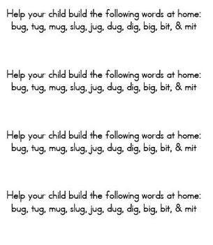 Word Building - Making Words, Targeted Short Vowels, Beginning of Year