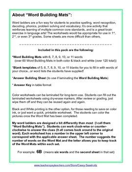 Word Building Mats GR 1-3 (Word Ladder): Spelling, Rhyming, Phonics, Vocabulary