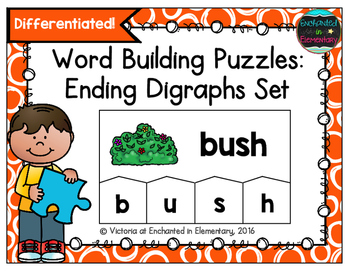 Word Building Puzzles: Ending Digraphs Set