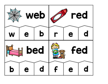 Word Building Puzzles: Short E CVC Set