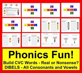 Phonics Word Building DIBELS - Roll A C-V-C Word!