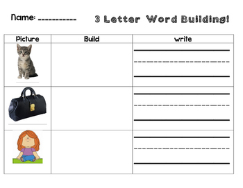 Word Building Word Work 3, 4, and 5, letter word building with answer key