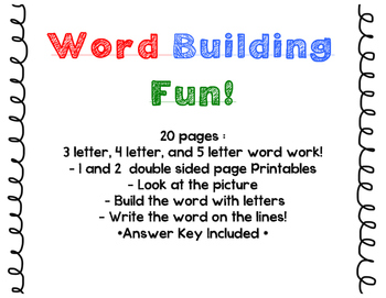 Word Building Word Work 3, 4, and 5, letter word building