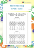 Word Building from Table (Visual Perception Worksheets)