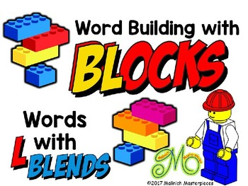 Word Building with Building Blocks: Words with L Blends: bl, cl, sl, fl, gl, pl