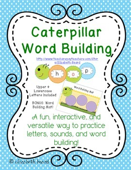Word Building with Caterpillar Letters for Preschool, Kind