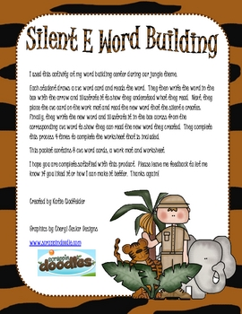 Word Building with Silent E-Jungle Theme